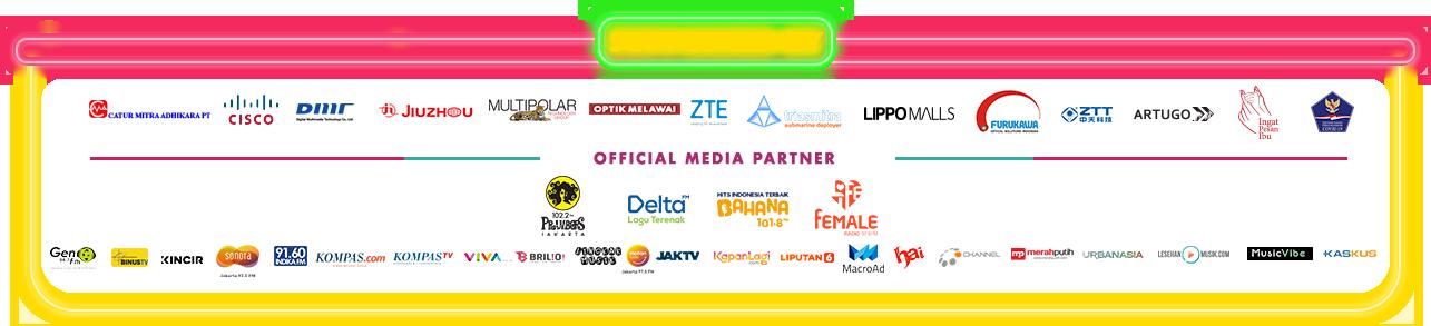 Sponsored by: Pesona Indonesia dan Kemenparekraf, Supported by: BSG, Catur Mitra Adhikara, Cisco, Jiuzhu, Multipolar, Optik Melawai, Sandvine, ZTE dan LippoMalss Indonesia