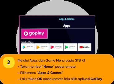 """Melalui Apps dan Game Menu pada STB X1                                         -Tekan tombol """"Home"""" pada remote                                          -Pilih menu """"Apps & Games""""                                         -Lalu tekan OK pada remote lalu pilih aplikasi GoPlay"""