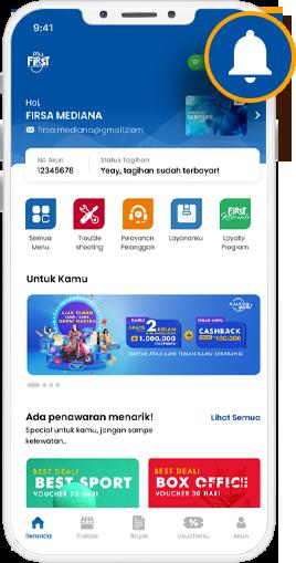 Step 1 = Lihat menu Inbox dengan klik lonceng.