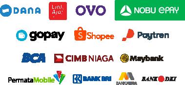 Bayar pakai Dana, LinkAja, OVO, Nobu Epay, Gopay, ShopeePay, Paytren, BCA, Cimb Niaga, Maybank, Permata Bank, Bank Bri, Bank Mega dan Bank DKI.